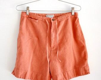 Vintage Minimal Rust Orange Cotton High Waisted Shorts