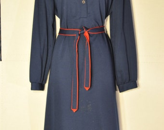 Womens Vintage Navy Long Sleeve Dress