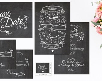 Announcements wedding and stationery slate vintage