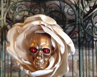 Skull hair flower champagne  rose - gold skull - black netting - pinup - rockabilly - psychobilly - steampunk - goth
