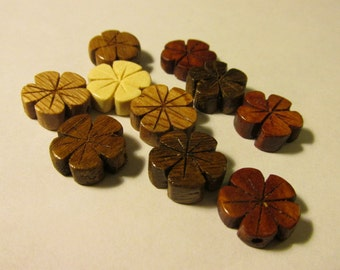 "Carved Wooden Plumeria Flower Beads, 1/2"", Set of 10 Assorted Colors"