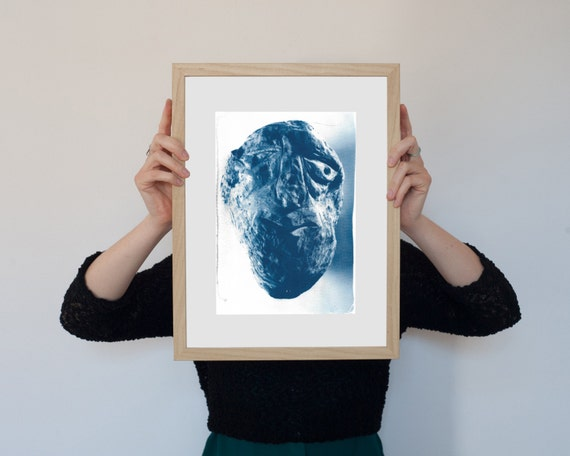Rocky Face, Abstract Rock Face Sculpture, Cyanotype Print on Watercolor Paper, A4 size