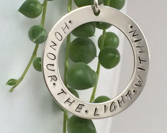 honour the light within necklace - sterling silver hand stamped pendant