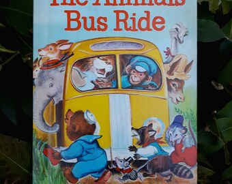 Vintage Rand McNally Junior Elf Book, The Animals' Bus Ride, by Helen Wing, illustrated by Irma Wilde. 1965 19c