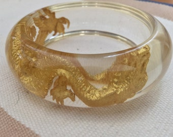 Clear Resin Bangle with Gold Dragon