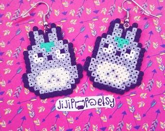 Earrings pearls Hama Beads - Totoro - my Neighbor Totoro - Studio Ghibli