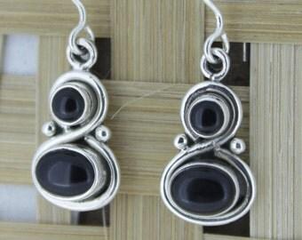 925 Sterling Silver Earrings - Black Onyx