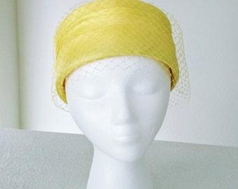 Vintage Lemon Yellow Hat, Birdcage Netting Veil, Pillbox, Ca. 1960s