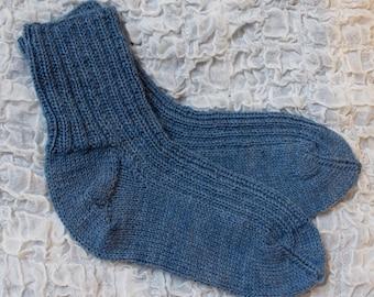 Soft, blue woolen socks