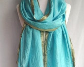 Wrap | Boho Shawl | Long Scarf | Silk Scarf | Hand Dyed Silk Scarf | Cerulean Blue Silk | SilverTrim | Two Toned Scarf | Hippie Scarf