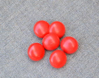 Red Dome Plastic Shank Buttons - Red Plastic Buttons