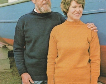 Womens, Mens, Boys and Girls Guernsey Sweater PDF Knitting Pattern : 24, 26, 28, 30, 32, 34, 36, 38, 40, 42, 44, 46, 48 and 50 inch chest