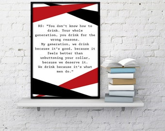 Mad Men Poster Quote Donald Draper Poster Roger Sterling We Drink Madmen poster mad men wall art madmen quotes don draper home decor dorm