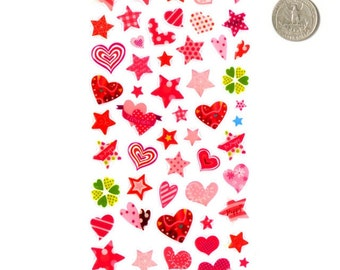 Adhesive rubber sheet with hearts, stars, circles for decoration and scapbooking