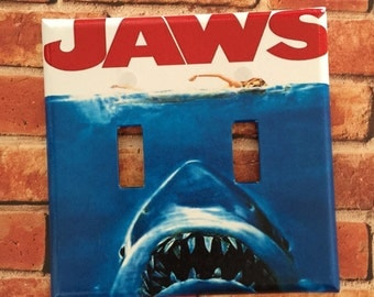 JAWS movie poster light switch cover plate home room decor sharks