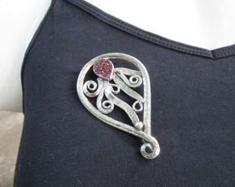 Handmade Sterling Silver Paisley Swirl Pin Brooch, with Teardrop Purple Drusy Stone, Free Shipping