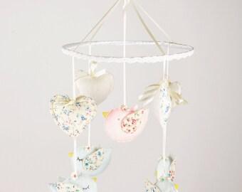 Bird Crib Mobile, Felt Bird Mobile, Bird Baby Mobile, Bird Mobile,Woodland Baby Mobile,Bird Baby Shower,Bird Nursery Mobile,Baby Shower Gift