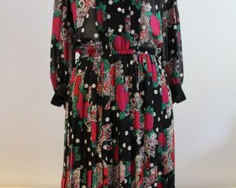 Vintage 1980's Floral Black & Red Summer Dress (Size 12 (UK))