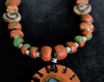 Southwest Style Clay Bead Necklace.