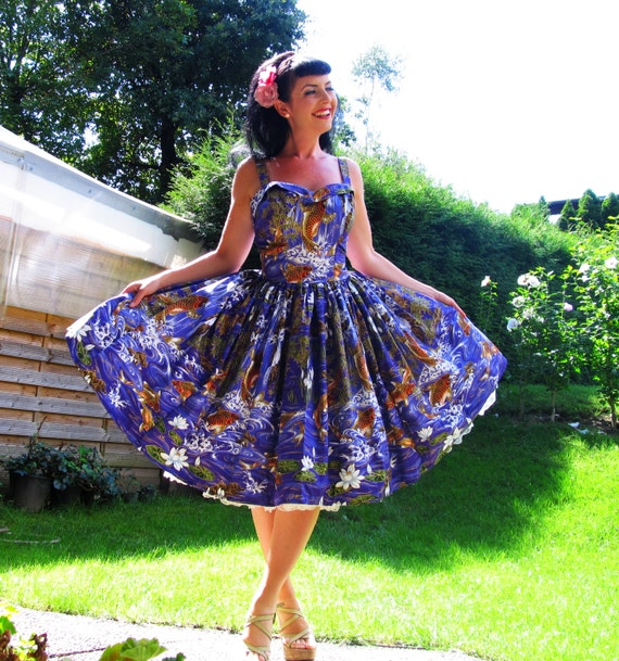 Pinup dress 39 joy in fish koi 39 tiki version joy dress for Koi fish dress