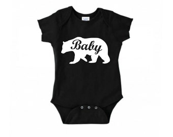 Baby Bear, Newborn, Infant, Black or White Body Suit Infant Lap Shoulder Creeper Sizes NB-24 Months