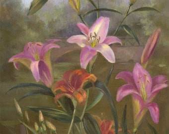 Painting, Original hand painted oil painting, Pink Lilies flower painting gift