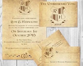 harry potter wedding invitations digital // geeky custom, Wedding invitations