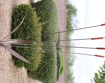 Recycled Steel Cattails Sculpture