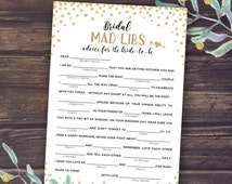 Mad Libs Wedding, Bridal Mad Libs, Shower Games Printable, Madlibs, Gold Confetti and Black, Advice for Bride to Be, Digital Download PDF