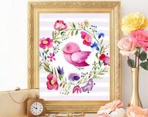 Nursery Printable Bird Wall art prints Watercolor Floral Flowers Kids room decor Baby Boy Girl room art Poster 8x10 Digital file