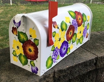Painted Mailboxes, Decorative Mailboxes, Custom Mailboxes, Residential Mailboxes, Hand Painted Mailbox,  Floral Mailbox, Post Mailbox