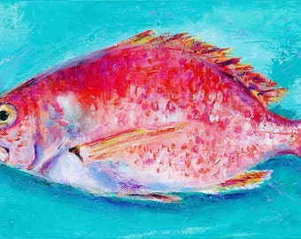 Reddy Drum: Fine art giclee print of red drum fish from original acrylic painting