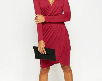 Maroon Wrap Dress PBS/S7