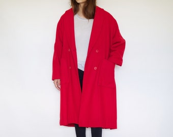 80s Vintage auth COMME des GARÇONS women's red double breasted wool coat | Size 5-6