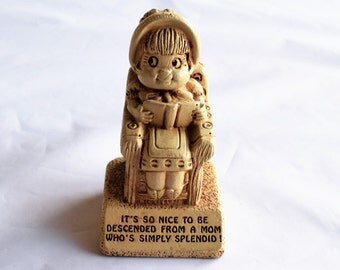 """Vintage 1974 Paula Figurine """"It's so nice to be descended from a mom who's simply slendid""""/Paula Sillisculpt Figurine/ Collectibles"""