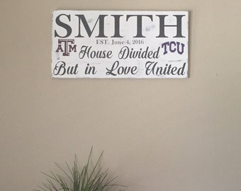 Sign- House divided but in love divided family sign