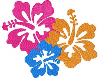 Hibiscus Flower Trio Machine Embroidery Design In 3 Sizes  for Personal and Commercial use INSTANT DOWNLOAD