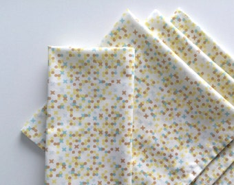 Large Cloth Napkins, Set of 4 - Modern Tan Blue Yellow Dots, 100% Cotton