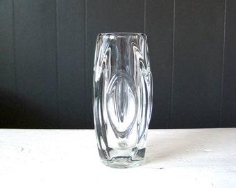 Vintage Sklo Union Lens Vase, aka Bullet Vase, Clear glass vase designed by Rudolf Schrötter for Rosice Glass, Czechoslovakia, Czech glass