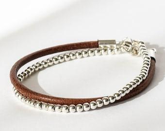 Leather bracelet Sterling silver bracelet Custom bracelet Silver beads bracelet Leather bracelet Man Silver jewelry Leather bracelet woman