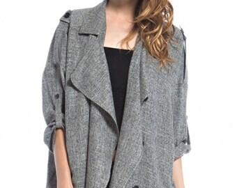 Shirt-Jacket in Light Gray Tweed