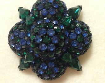 Warner Mounded Emerald Green and Sapphire Blue Rhinestone Brooch