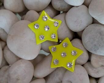 Neon Yellow Star Earrings
