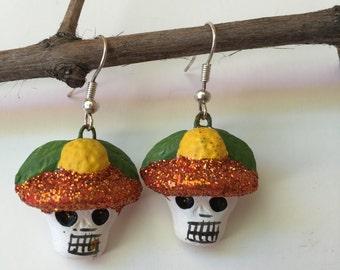 Hand-Painted Skull Earrings