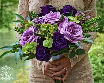 Wedding Bouquet, Silk Bridal Bouquet, Lavender Alternative Bouquet, Purple Wedding Flowers, Orchids Lilac Succulent Bouquet, Silk Flowers