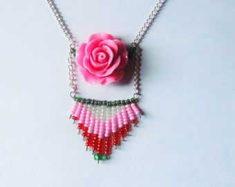 Beads & Rose Necklace