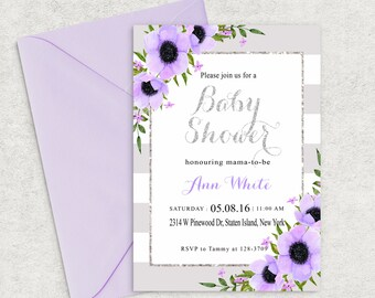 Lilac and Silver Shine Baby Shower Invitation, Lilac Baby Shower Invitation,Girl Baby Shower Invite,Boy Baby Shower Invite,Custom invitation