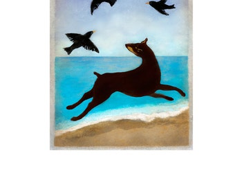 Doberman on the Beach, Dog, Beach Art, Four Flying Black Birds, Doberman art, Dog art, Animal art, Pet art
