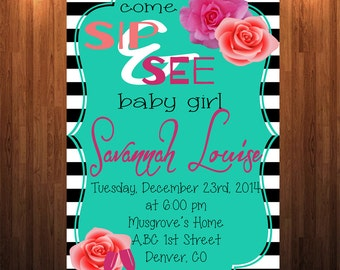 Sip and See Invitation, Meet the baby Invitation, Sip & See Invitation, New Baby meet and greet