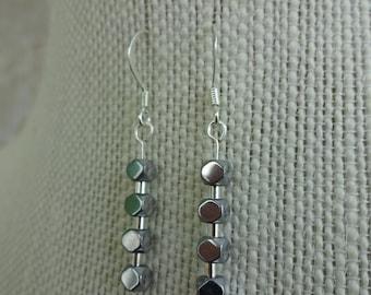 Square Metal Bead Earrings